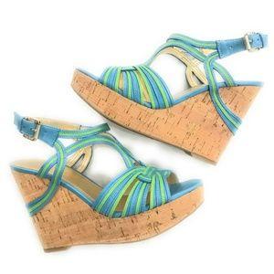 Ivanka Trump Womens Blue/Green Wedge Sandals, 7 M